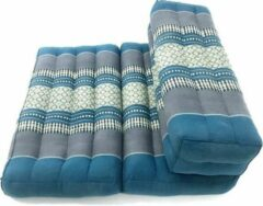 VDD Thai thoughts Multifunctioneel meditatie yoga matje zitkussen opvouwbaar met blok thais design 70 cm x 50 cm blauw