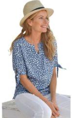 Blauwe Classic Inspirationen blouse van soepelvallende viscose