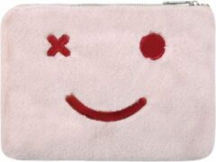 Yehwang Vrolijk Make-up tasje roze - met ritssluiting - lekker zacht - handig mee te nemen - koop hem voor uzelf of Bestel Een Kado