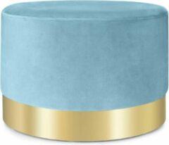 Besoa Bella gestoffeerde hocker 35x50cm (HxØ) , fluweel , basis van hout met goudkleurige, metalen ring