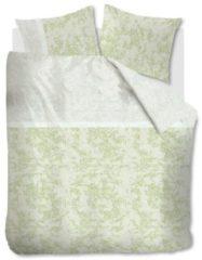 Groene Beddinghouse Impress dekbedovertrek - 100% katoen-satijn - Lits-jumeaux (260x200/220 cm + 2 slopen) - Green