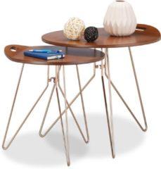 Donkerbruine Relaxdays - bijzettafel 2 stuks - salontafel - designtafel - retro walnoot look