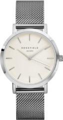 Rosefield Watches - The Mercer Dames Horloge | Wit/Zilver | Roestvrijstalen mesh band | Rond | Quartz uurwerk | Waterdicht | 3 ATM | Ø38 mm