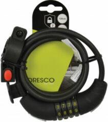 Dresco - Spiraal/cijferslot - 120cm - Rond 8mm - Met steun - Zwart