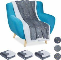 Relaxdays 4 x plaid 150x200 - deken - woonkamer - woondeken - op bank - grijs – sterren