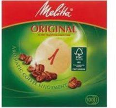 Bruine Melitta NO 1 koffiefilter papier ongeveer 9.4 CM ( let op 1 verpakking met 100 filters)