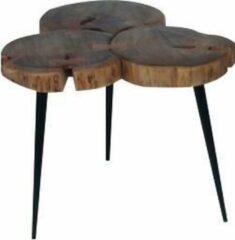 DC Interior Massief houten salontafel 42 cm met metalen poten in natuurlijke en zwarte kleur