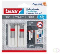 Grijze Massamarkt Tesa - 77775 - verstelbare klevende schroef voor behang en pleister - tot 1kg - 2 stuks