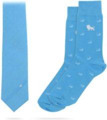Blauwe Necessarius Blue Lion Set - Matchende zijde stropdas & sokken