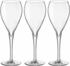 Transparante Bormioli 12x Stuks champagneglazen van glas 150 ml - Glazen op voet voor Champagne/bubbels of Cava