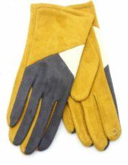 Dielay - Handschoenen met Vlakken - Dames - One Size - Touchscreen Tip - Geel