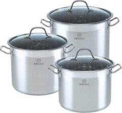 Zilveren Kinghoff 4313 pannenset - rvs - alle warmtebronnen