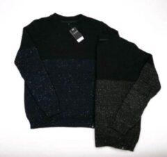 Blauwe Gibson heren trui navy / zwart melange - maat S