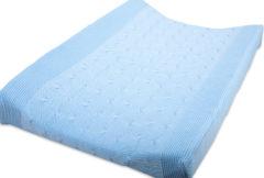 Blauwe Baby's Only aankleedkussenhoes kabel uni baby blauw