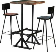 Bruine Merkloos / Sans marque Barset 3 delig (incl Houten dienblad) Teruggewonnen hout - Bartafel set - Bar kruk - Hoge Stoel - Bar stoeltje - Bar Krukje - Barkruk - Bartafel met barstoelen