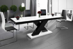 Witte Hubertus Meble Uitschuifbare Eettafel Xenon 160cm tot 210cm - Hoogglans Wit met Zwart