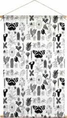 We Maqe textielposter zwart-wit botanische dieren Valesca 45x70 cm