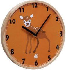 Oranje THE ZOO - klok, met houten rand, WALLCLOCK, baby dear, hert, doorsnede 25 cm