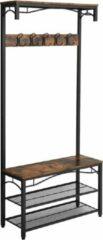 Vasagle Garderobe - Kapstok Met 3 Planken - Schoenenrek – Kledingrek Met 5 Haken