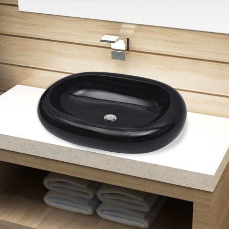 Immagine di VidaXL Lavandino da bagno in ceramica ovale nero