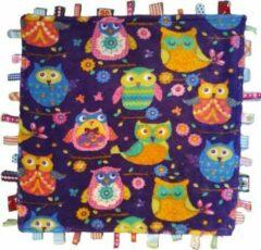 Paarse Toetie & Zo Speeldeken Baby Uil - Speelkleed - Baby Speelmat - Kraamcadeau - Knuffeldeken - Labeldeken - 45x45 cm
