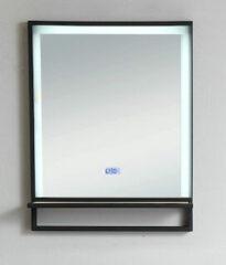 B-Stone Saval zwart RVS spiegel met LED verlichting en spiegelverwarming 55x70cm
