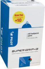 Pilot balpen Super Grip G fijn met dop, value pack met 30 + 10 stuks in 4 geassorteerde kleuren