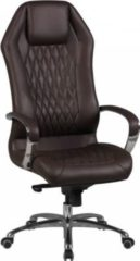 AMSTYLE Bürostuhl MONTEREY Echt-Leder Braun Schreibtischstuhl 120KG Chefsessel hohe Rückenlehne mit Kopfstütze X-XL