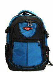 Rugzak Power - met laptop vak- 31x15x46 cm (9602-7) - zwart/lichtblauw