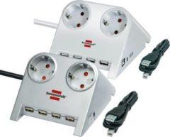 Brennenstuhl Desktop-Power-Plus mit USB-2.0-Hub mit 5 V-Buchse Farbe: Silber