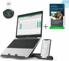 Zwarte Business & Friends Verstelbare Ergonomische Laptop standaard met telefoonhouder + Gratis E-book - Universeel - Opvouwbaar - Laptophouder - Laptop stand - Laptopstandaard - Apple - Ipad - Asus - Lenovo - HP - Acer - 11 t/m 17 inch
