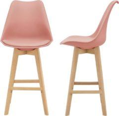 Roze En.casa Design barkruk set van 2 kunstleer en beuken poten rosé