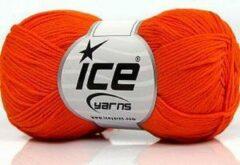 Ice yarns Haak en breigaren 100% katoen garen oranje – breien en haken naald 3 mm – bollen van 50 gram haakgaren looplengte 170 meter | dewolwinkel.nl
