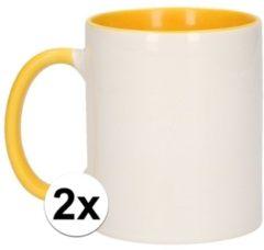 Shoppartners 2x Wit met gele blanco mokken - onbedrukte koffiemok