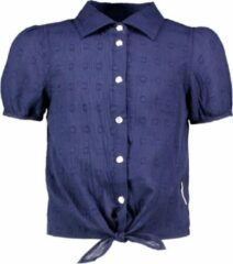 Blauwe B.Nosy B-Nosy Unisex blouses B-Nosy Girls dotted chambray blouse space blue 104