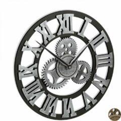 Relaxdays wandklok met tandwielen - romeinse klok - muurklok - retro - 40 cm - woonkamer zilver
