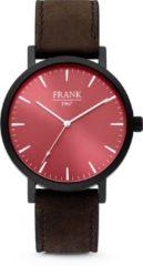 Rode Frank 1967 7FW-0010 - Stalen horloge met lederen band - rood en donkerbruin - Ø 42 mm