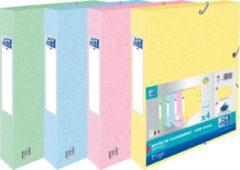 Oxford Top File+ elastobox, rug van 4 cm, geassorteerde pastelkleuren, pak van 4 stuks