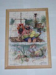 De K van Kinderen Houten framepuzzel prentenboek Woeste Willem