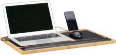 Naturelkleurige Relaxdays laptoptafel schoot - schoottafel - bedtafel - laptopstandaard bamboe - knietafel