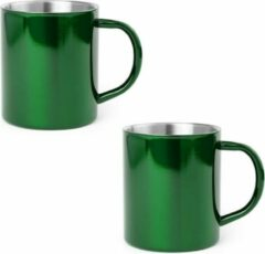 Shoppartners 2x Drinkbeker/mok groen 280 ml - RVS - Groene mokken/bekers voor onbijt en lunch