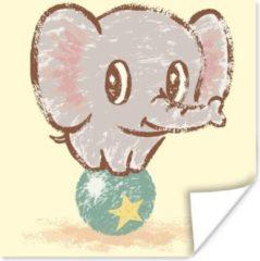 PosterMonkey Een illustratie van een babyolifant in het circus poster 100x100 cm - Foto print op Poster (wanddecoratie woonkamer / slaapkamer) / Wilde dieren Poster