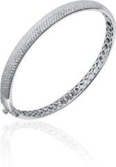 Jewels Inc. - Armband - Bangle Ligt Gebold gezet met Zirkonia - 7mm Breed - Maat 56 - Gerhodineerd Zilver 925