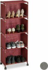 Donkerrode Relaxdays schoenenrek op wielen - schoenenkast - rek - opbergrek - stof - metaal - hoog purper