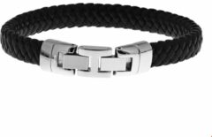 Zilveren The Jewelry Collection For Men Armband Leer 10 mm 22,5 cm - Staal