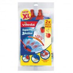 Blauwe Vileda Vervanging SuperMocio 3 Action - Navulling voor de Vileda Super Mocio 3D Mop en Steel - 2 stuks