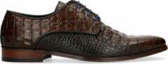 Black label - Heren - Cognac veterschoenen met snakeskin - Maat 43