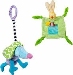 Taf Toys - Groen knuffelkonijn en gekke hond - Knuffeldoek & speeltje - kleurrijk