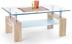 Transparante Home Style Glazen salontafel Diana intro 100 cm breed in sonoma eiken