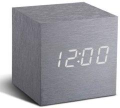 Gingko Cube Click Clock wekker aluminium - witte - led